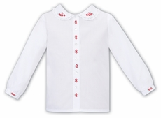 Sarah Louise Girls White Blouse - Lace Trim - Red Embroidery