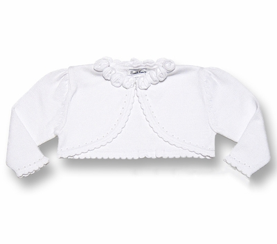 Sarah Louise Girls White Bolero with Scallop Edge and Roses Neckline
