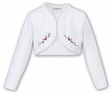Sarah Louise Girls Lace Trim Bolero Sweater - White with Red & Grey Embroidery