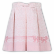 Sarah Louise Pink Bows Print Pleated Skirt