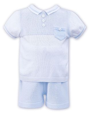 Sarah Louise Toddler Boys Blue / White Sweater Knit Short Set