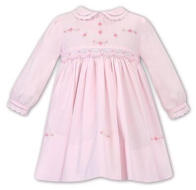 Sarah Louise Baby / Toddler Girls Smocked Pink Dress - Long Sleeves