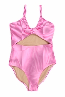 Shade Critters Girls Neon Pink Seersucker Cut-Out Swimsuiit