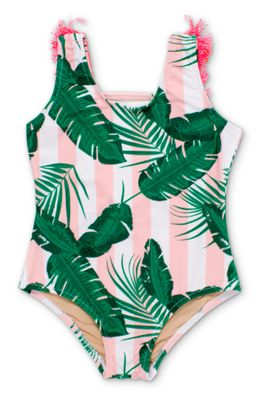 Shade Critters Girls Pink / Green Botanical Swimsuit - Hot Pink Fringe on Back
