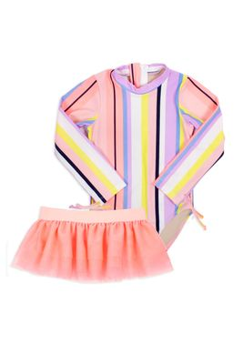 Shade Critters Girls Coral Pink Pastel Stripe Long Sleeved Swimsuit / Tutu Set