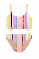 Shade Critters Girls Coral Pink Pastel Striped Braided Strap Bikini Swimsuit