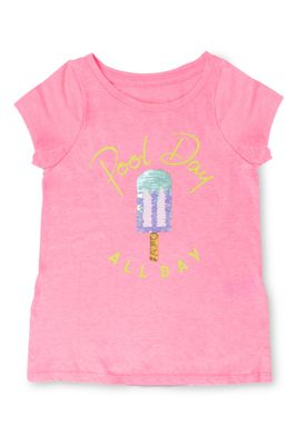 Shade Critters Girls Pink Pool Day All Day Popsicle Flip Sequins Tee Shirt