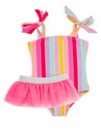 Shade Critters Girls Pink Rainbow Stripes One Piece Swimsuit with Tutu