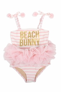 Shade Critters Girls Pink Stripe / Tulle Beach Bunny Swimsuit - Tail on Back!