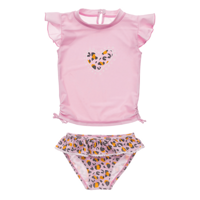 Snapper Rock Baby / Toddler Girls Pink Leopard Love Ruffle Rash Guard Set