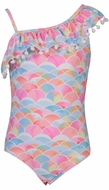Snapper Rock Girls Pink Rainbow Connection One Shoulder Swimsuit