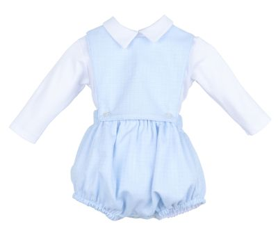 Sophie & Lucas Baby Boys Blue Candyland Overall Bubble with Shirt