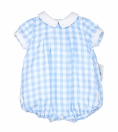 Sophie & Lucas Baby Boys Blue Check Bubble with Collar