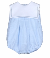 Sophie & Lucas Baby Boys Blue Dotted Swiss Bubble - White Sailor Collar