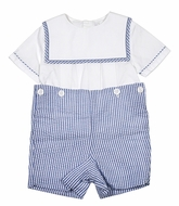 Sophie & Lucas Baby / Toddler Boys Blue Stripe Seersucker Button On Outfit - Square Collar