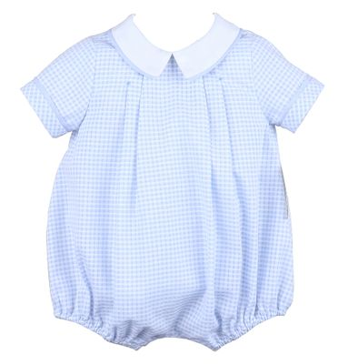 Sophie & Lucas Baby Boys Coastal Blue Check Bubble - Pocket on Back!