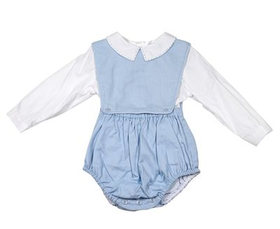 Sophie & Lucas Baby Boys Corduroy Bubble with Shirt - Blue