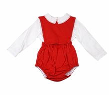 Sophie & Lucas Baby Boys Corduroy Bubble with Shirt - Red