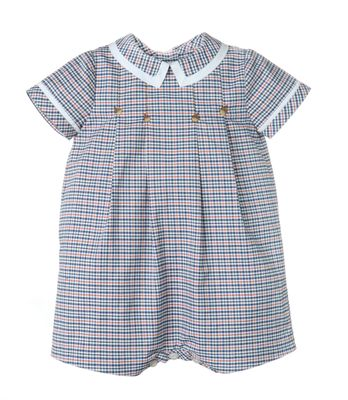 Sophie & Lucas Baby Boys Fall Festival Navy Blue Plaid Bubble with Collar