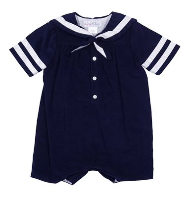 Sophie & Lucas Baby Boys Navy Blue Corduroy Sailor Suit Romper