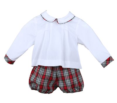 Sophie & Lucas Baby Boys Red Merry Tartan Holiday Plaid Bloomers Set