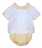 Sophie & Lucas Baby Boys Sunny Yellow Gingham Diaper Set - Easter Chick