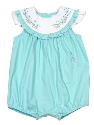 Sophie & Lucas Baby Girls Aqua Under the Sea Bubble - Pocket and Embroidered Coral