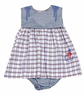 Sophie & Lucas Baby Girls Blue / Red Plaid Nautical Anchor Dress with Panty