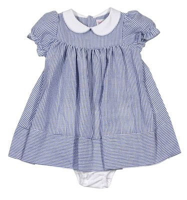 Sophie & Lucas Baby Girls Blue Seersucker Dress with Panty