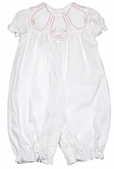Sophie & Lucas Baby Girls Long Petal Collar Romper - White