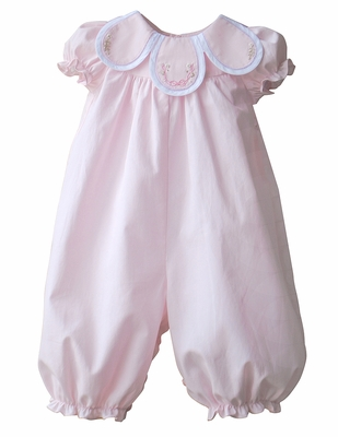 Sophie & Lucas Baby Girls Petal Collar Long Romper - Pink