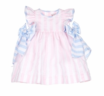 Sophie & Lucas Baby Girls Pink Sunny Stripe Dress with Blue Side Bows