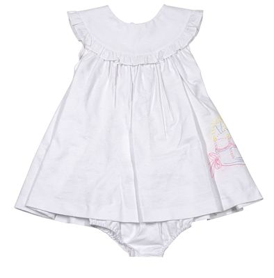 Sophie & Lucas Baby Girls White Dot Dress - Embroidery Birthday Cake
