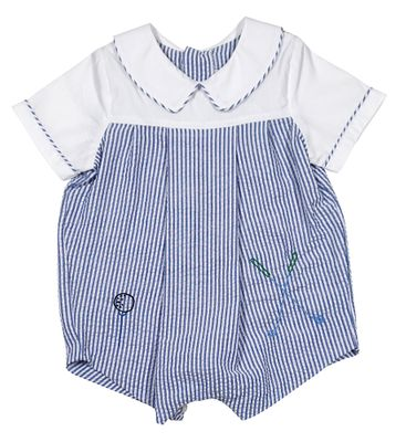 Sophie & Lucas Baby / Toddler Boys Blue Seersucker Bubble - Golf Embroidery