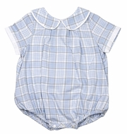 Sophie & Lucas Baby / Toddler Boys Blue Wintry Plaid Bubble