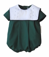 Sophie & Lucas Baby / Toddler Boys Forest Green Bubble with White Collar