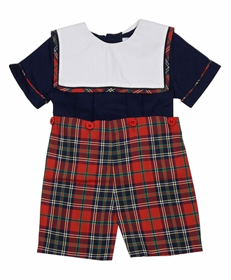 Sophie & Lucas Baby / Toddler Boys Navy Blue / Red Tartan Holiday Plaid Button On Set