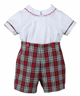 Sophie & Lucas Baby / Toddler Boys Red Merry Tartan Holiday Plaid Button On Suit