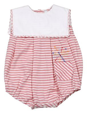 Sophie & Lucas Baby / Toddler Boys Red Stripe Bubble - Embroidery July 4th Firecracker