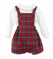Sophie & Lucas Baby / Toddler Boys Red Tartan Plaid Holiday Overall with Shirt