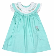 Sophie & Lucas Baby / Toddler Girls Aqua Under the Sea Dress - Mermaid Pocket - Ruffle Collar