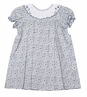 Sophie & Lucas Baby / Toddler Girls Blue Floral Juniper Dress - Embroidery on Ruffle Collar
