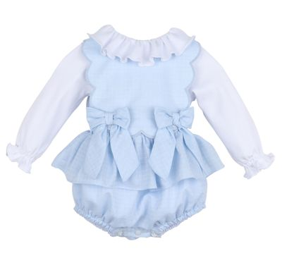 Sophie & Lucas Girls Candyland Scallop Bubble with Blouse - Blue