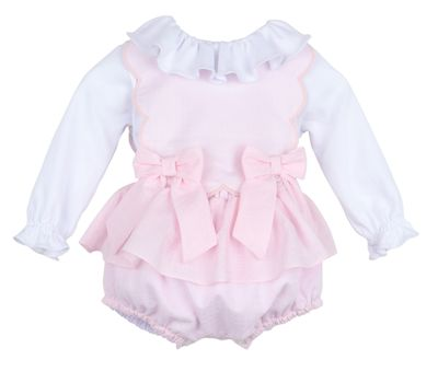 Sophie & Lucas Girls Candyland Scallop Bubble with Blouse - Pink