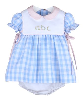 Sophie & Lucas Baby / Toddler Girls Cape Check ABC Dress - Blue