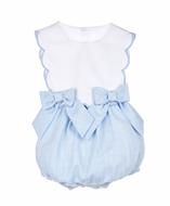 Sophie & Lucas Baby / Toddler Girls Carolina Scallop Bubble with Bows - Blue