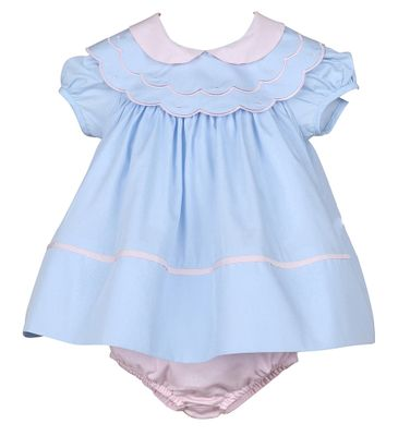 Sophie & Lucas Baby / Toddler Girls Classic Blue / Pink Float Dress