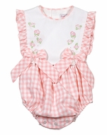 Sophie & Lucas Baby / Toddler Girls Coral Check Ruffle Bubble with Embroidery and Bows