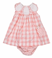 Sophie & Lucas Baby / Toddler Girls Coral Pink Check Dress - Petal Collar - Flower Embroidery Pocket