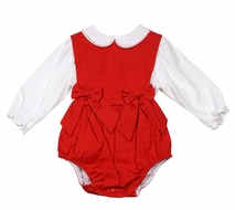 Sophie & Lucas Baby / Toddler Girls Corduroy Bubble with Bows & Blouse - Red
